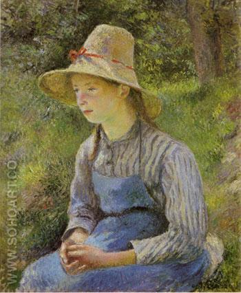 Peasant Girl with a Straw Hat - Camille Pissarro reproduction oil painting