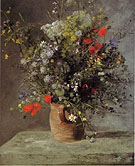 Flowers in a Vase 1866 - Pierre Auguste Renoir reproduction oil painting