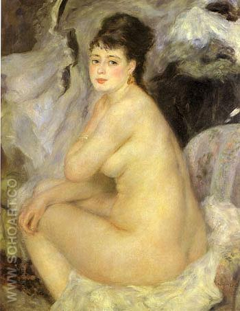 Nude seated on a Sofa 1876 - Pierre Auguste Renoir reproduction oil painting