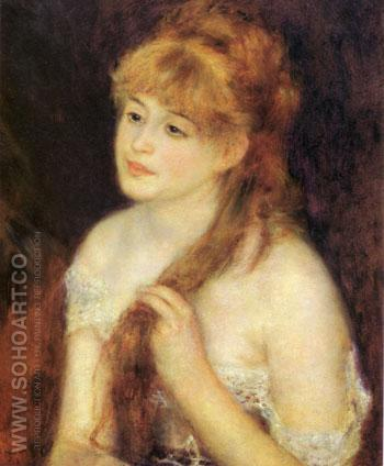 Young Woman Braiding Her Hair 1876 - Pierre Auguste Renoir reproduction oil painting