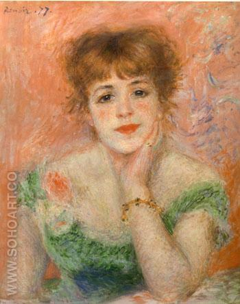 Portrait of the Actress Jeanne Samary 1877 - Pierre Auguste Renoir reproduction oil painting