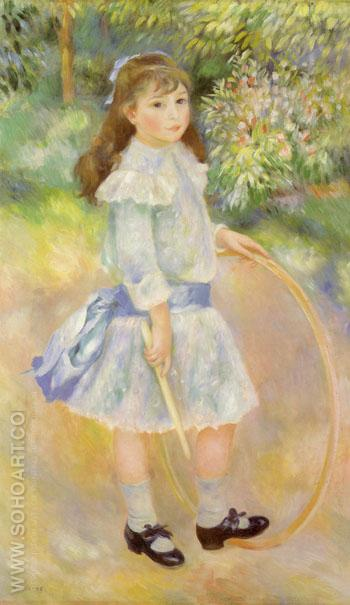 Girl with Hoop 1885 - Pierre Auguste Renoir reproduction oil painting