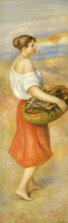Girl with a Basket of Fish - Pierre Auguste Renoir reproduction oil painting