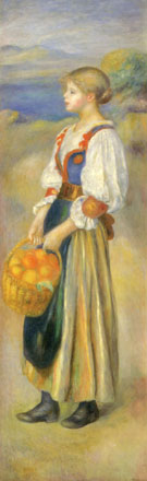 Girl with a Basket of Oranges - Pierre Auguste Renoir reproduction oil painting