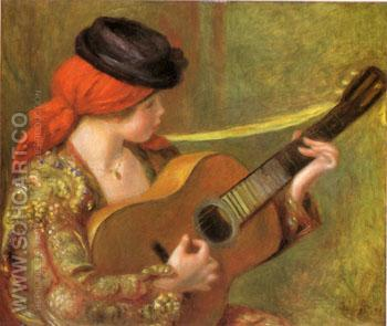 Young Spanish Woman with a Guitar 1898 - Pierre Auguste Renoir reproduction oil painting
