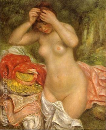 Bather Arranging Her Hair 1893 - Pierre Auguste Renoir reproduction oil painting
