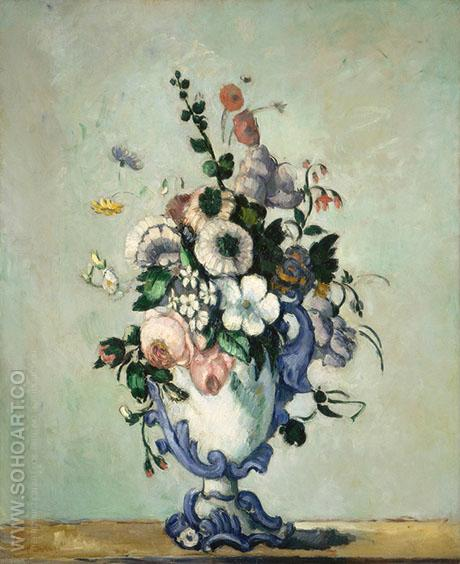Flowers in a Rococo Vase - Paul Cezanne reproduction oil painting