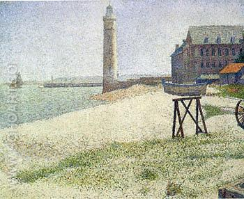 The Lighthouse at Honfleur 1886 - Georges Seurat reproduction oil painting