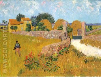 Farmhouse in Provence, Arles 1888 - Vincent van Gogh reproduction oil painting
