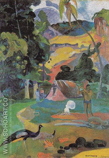 Landscape with Peacocks (Matamoe) 1892 - Paul Gauguin reproduction oil painting