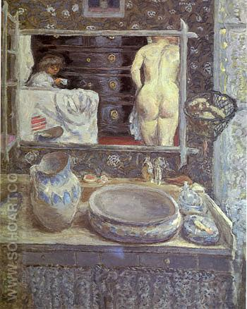 The Bathroom Mirror - Pierre Bonnard reproduction oil painting