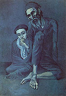 Old Jew and a Boy 1903 - Pablo Picasso reproduction oil painting
