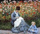 Camille Monet with a Child in Painter's Garden at Argenteuil, 1875 - Claude Monet reproduction oil painting