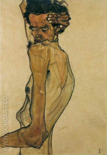 Self Portrait with Twisted Arm 1910 - Egon Scheile reproduction oil painting