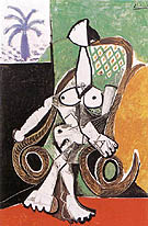 Nude in a Rocking Armchair 1956 - Pablo Picasso reproduction oil painting