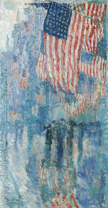 Avenue in the Rain 1917 - Childe Hassam reproduction oil painting