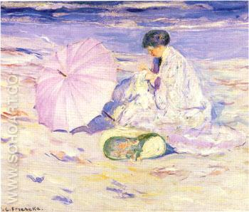 On the Beach in Corsica 1913 - Frederick Carl Frieseke reproduction oil painting