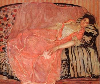 Portrait of madame Gely (On the Couch) - Frederick Carl Frieseke reproduction oil painting