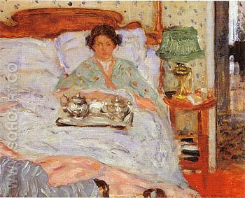 Le Lejeuner au lit 1906 - Frederick Carl Frieseke reproduction oil painting