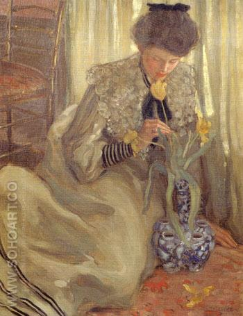 The Yellow Tulip 1902 - Frederick Carl Frieseke reproduction oil painting