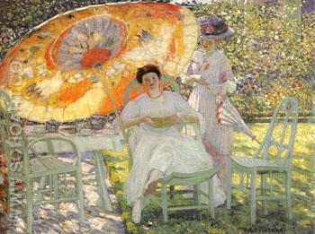 The Garden Parasol 1910 - Frederick Carl Frieseke reproduction oil painting