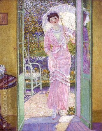 In the Doorway (Good Morning) 1913 - Frederick Carl Frieseke reproduction oil painting