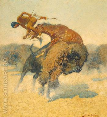 Episode of a Buffalo Hunt - Frederic Remington reproduction oil painting