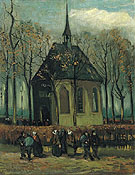 Congregation Leaving the Reformed Church un Nuenen 1884 - Vincent van Gogh reproduction oil painting