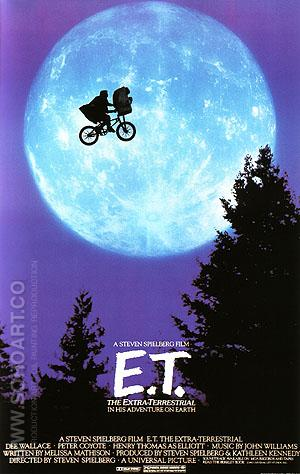 E.T. THE EXTRA-TERRESTRIAL, STEVEN SPIELBERG, 1982 - Classic-Movie-Posters reproduction oil painting