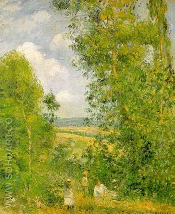 The Hermitage at Pontoise 1867 - Camille Pissarro reproduction oil painting