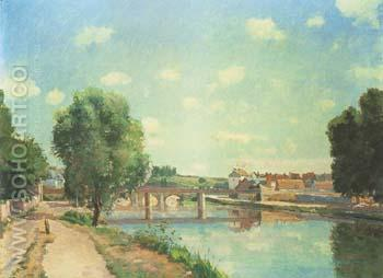 The Railway Bridge at Pontoise 1873 - Camille Pissarro reproduction oil painting