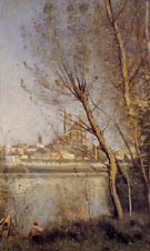 Nantes Cathedral and the City Seen throuth the Trees - Jean-baptiste Corot reproduction oil painting