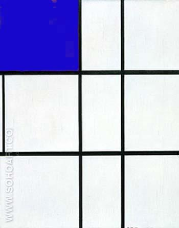 Composition B with Cobalt - Piet Mondrian reproduction oil painting