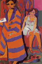 Self-Portrait with Model c1910 - Ernst Kirchner reproduction oil painting