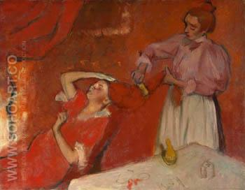 Combing the Hair La Coiffure c1896 - Edgar Degas reproduction oil painting