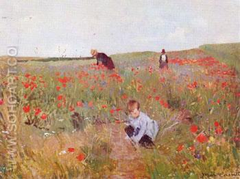 Poppies in a Field 1888 - Mary Cassatt reproduction oil painting