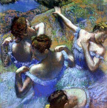 Blue Dancers c 1890 - Edgar Degas reproduction oil painting
