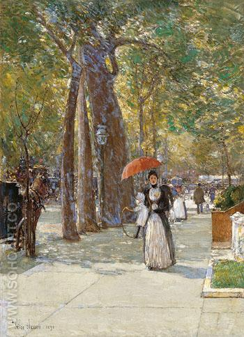 5th Avenue at Washington Square 1891 - Childe Hassam reproduction oil painting