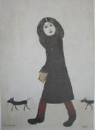 Lady with a Dog and Half 1963 - L-S-Lowry