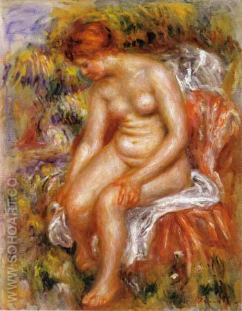 Bather Drying Her Legs 1895 - Pierre Auguste Renoir reproduction oil painting
