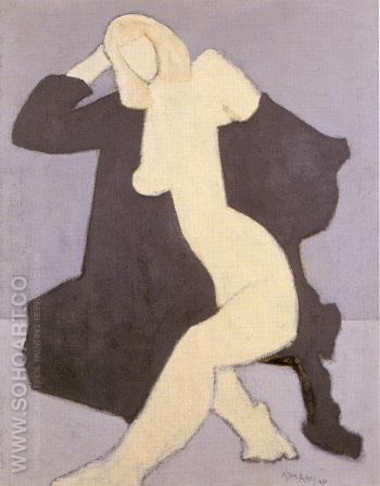 Nude in Black Robe - Milton Avery reproduction oil painting