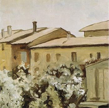 Courtyard at Via Fondazza 1954 - Georgio Morandi reproduction oil painting
