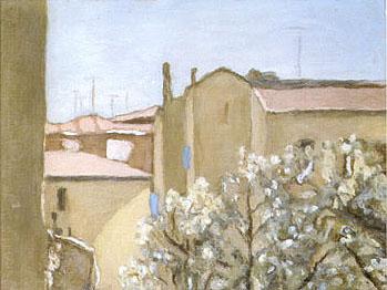 Courtyard Via Fondazza 1958 - Georgio Morandi reproduction oil painting
