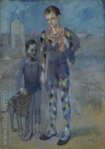 Two Acrobats with a Dog 1905 - Pablo Picasso reproduction oil painting