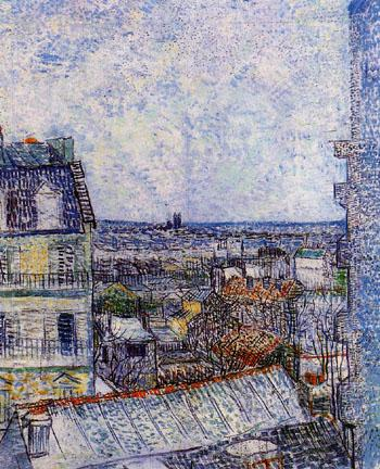 View of Paris from Vincent's Room in the Rue Lepic 1887 (2) - Vincent van Gogh reproduction oil painting
