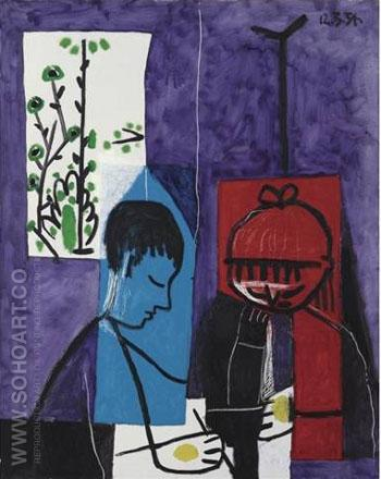 Enfants Dessinant  1954 - Pablo Picasso reproduction oil painting