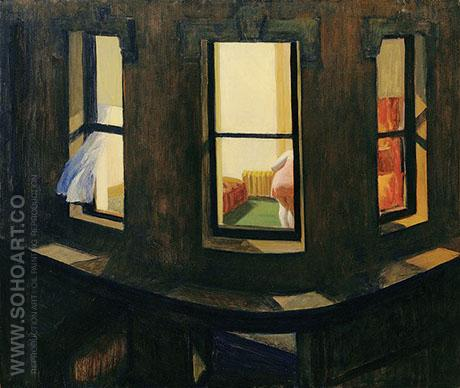 Night Windows 1928 - Edward Hopper reproduction oil painting