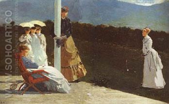 The Croquet Match  c1867 - Winslow Homer reproduction oil painting