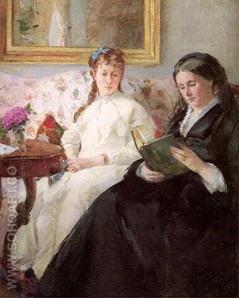 The Mother and Sister of the Artist 1869-70 - Berthe Morisot reproduction oil painting