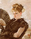 Woman with Fan Head of a Girl 1876 - Berthe Morisot reproduction oil painting